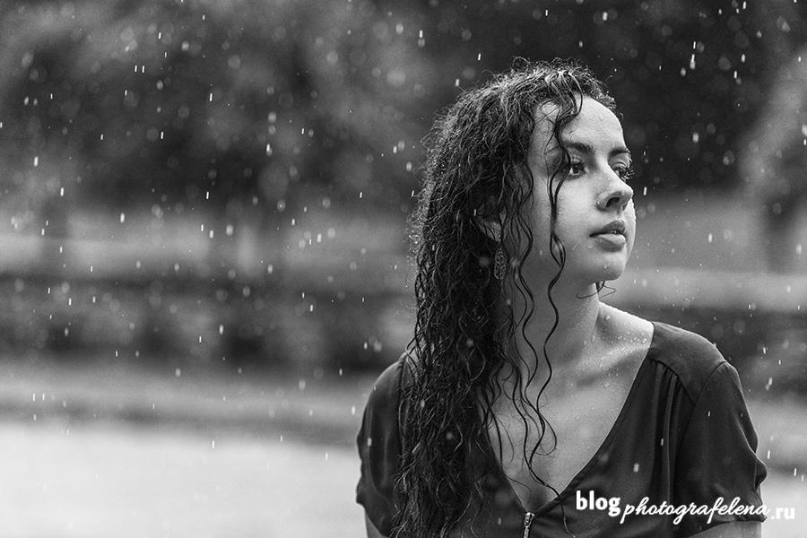 фотосессия под дождем девушки