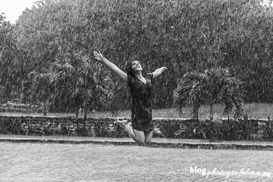 фотосессия под дождем летом
