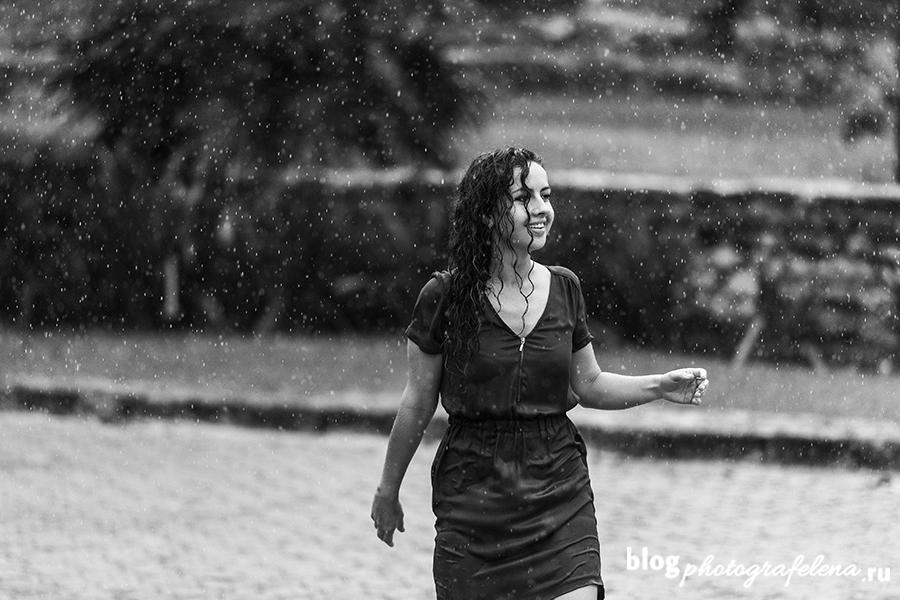 идея для фотосессии под дождем